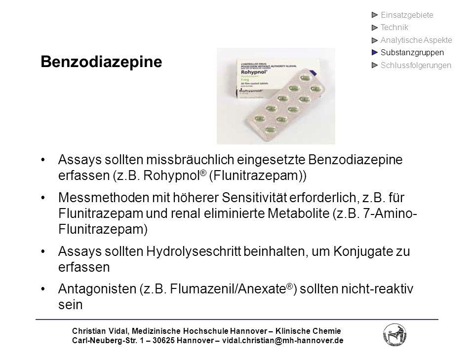 Einsatzgebiete Technik. Analytische Aspekte. Substanzgruppen. Schlussfolgerungen. Benzodiazepine.