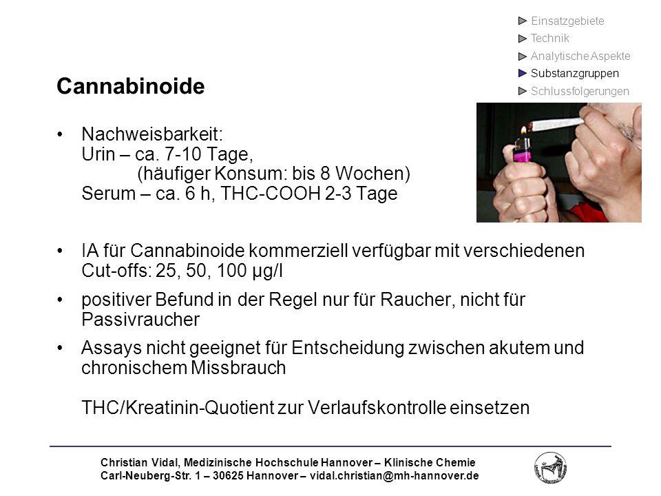 Einsatzgebiete Technik. Analytische Aspekte. Substanzgruppen. Schlussfolgerungen. Cannabinoide.
