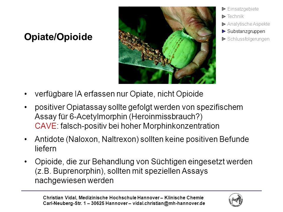 Opiate/Opioide verfügbare IA erfassen nur Opiate, nicht Opioide