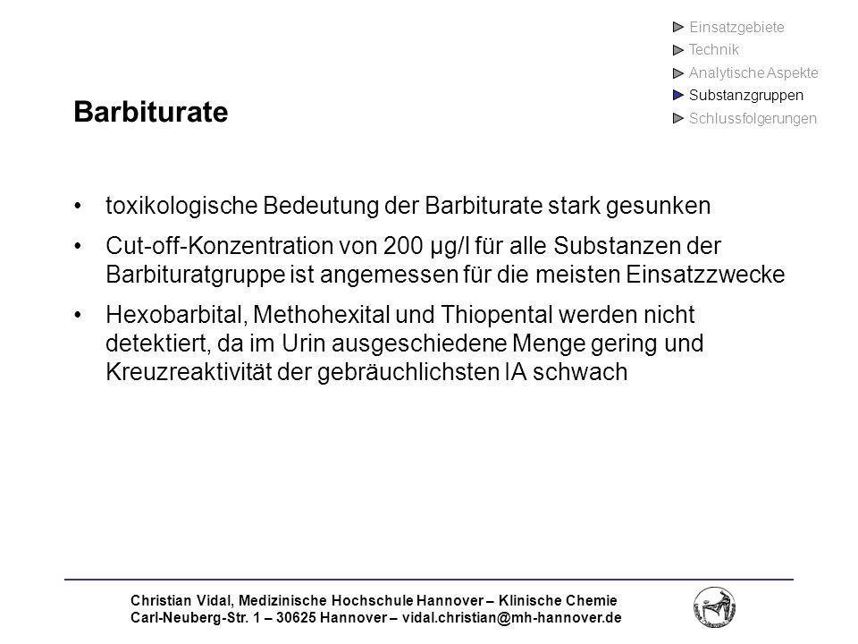 Barbiturate toxikologische Bedeutung der Barbiturate stark gesunken
