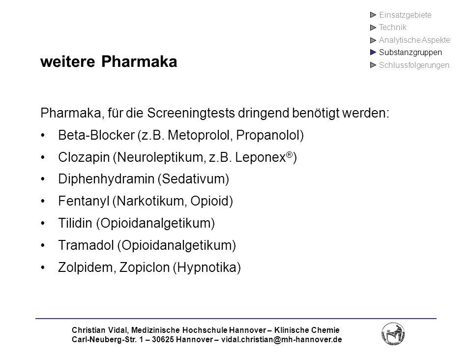 Einsatzgebiete Technik. Analytische Aspekte. Substanzgruppen. Schlussfolgerungen. weitere Pharmaka.