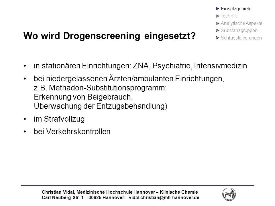 Wo wird Drogenscreening eingesetzt