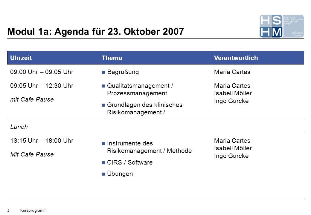 Modul 1a: Agenda für 23. Oktober 2007