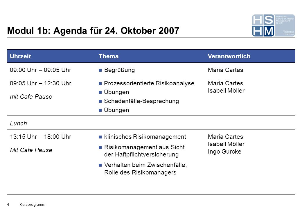 Modul 1b: Agenda für 24. Oktober 2007