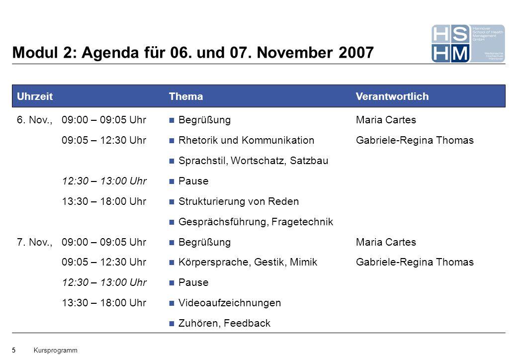 Modul 2: Agenda für 06. und 07. November 2007