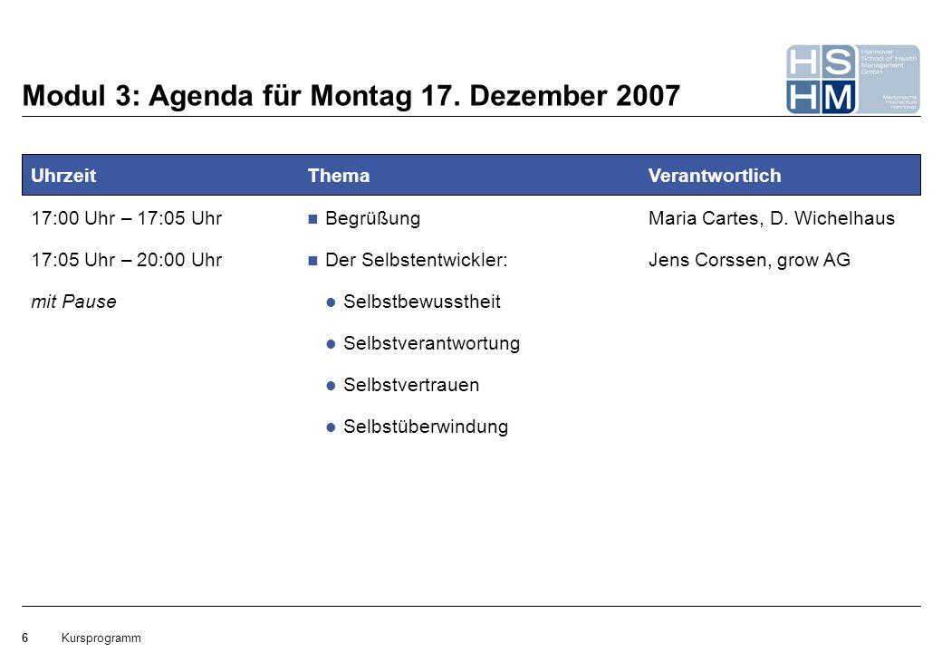 Modul 3: Agenda für Montag 17. Dezember 2007