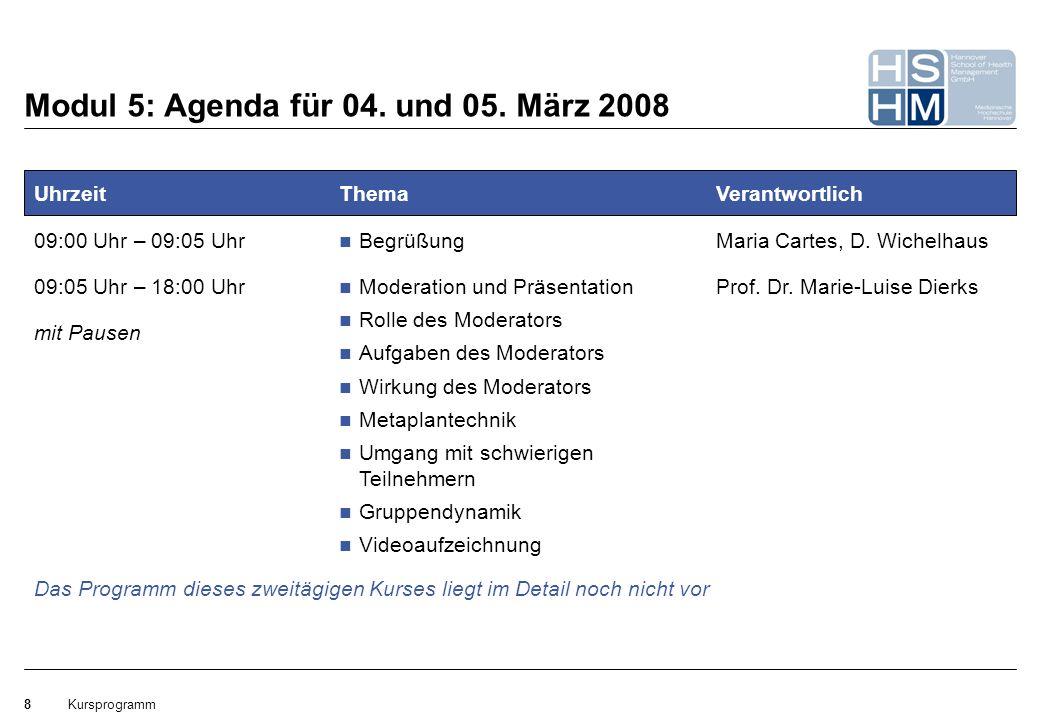 Modul 5: Agenda für 04. und 05. März 2008