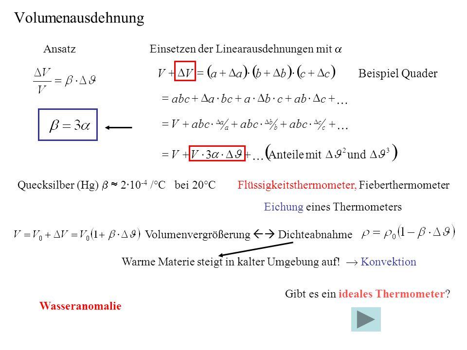 ( ) ( ) Volumenausdehnung Quader Beispiel D + × = c b a V + D × = K c