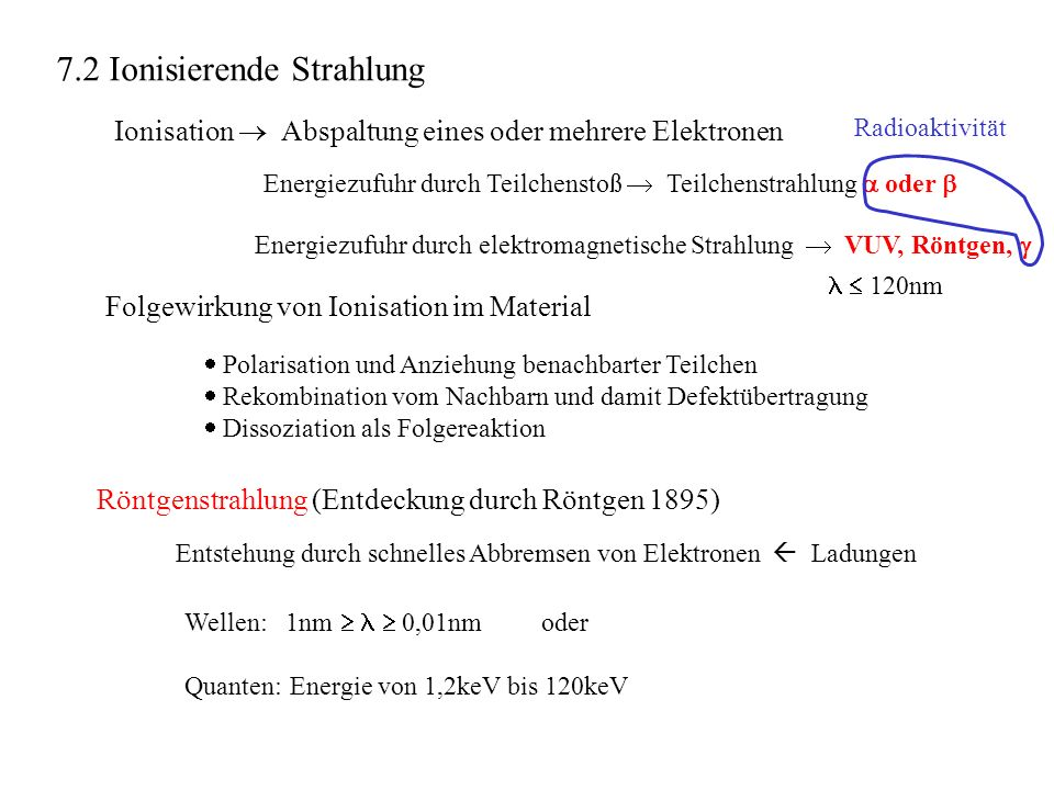 7.2 Ionisierende Strahlung