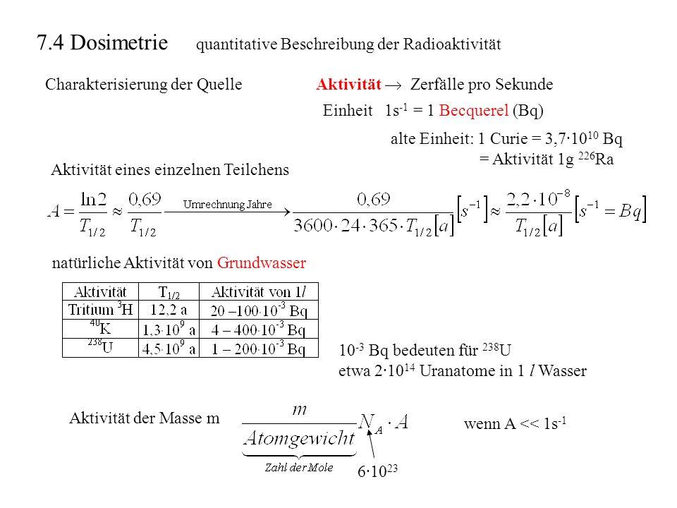 7.4 Dosimetrie quantitative Beschreibung der Radioaktivität