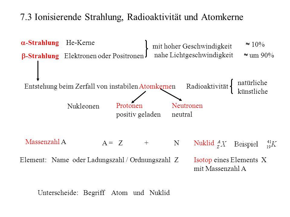 7.3 Ionisierende Strahlung, Radioaktivität und Atomkerne