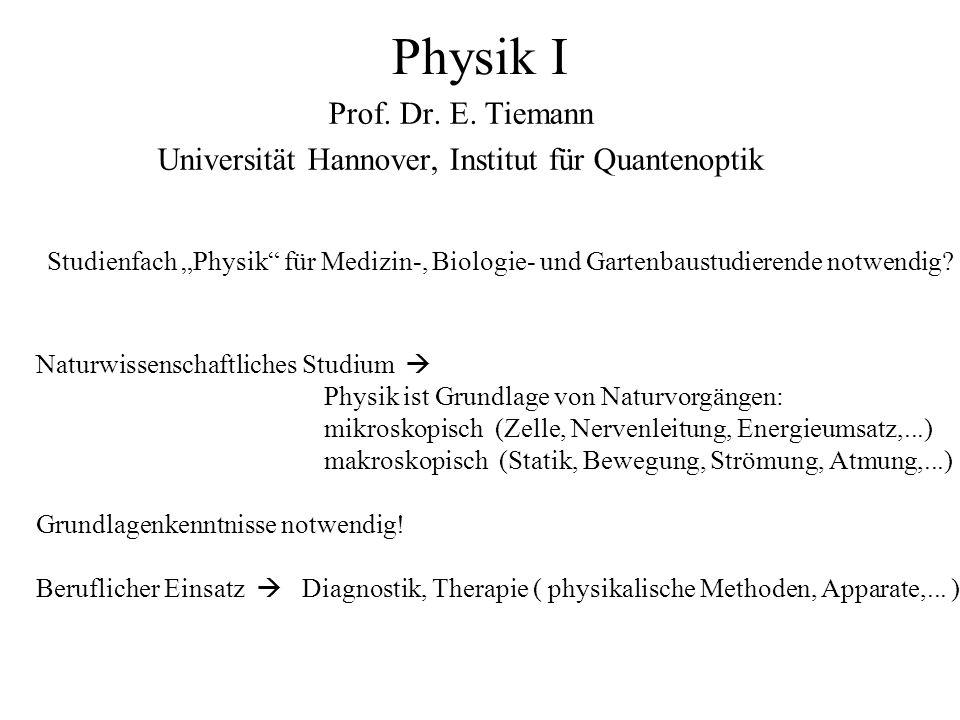 Prof. Dr. E. Tiemann Universität Hannover, Institut für Quantenoptik