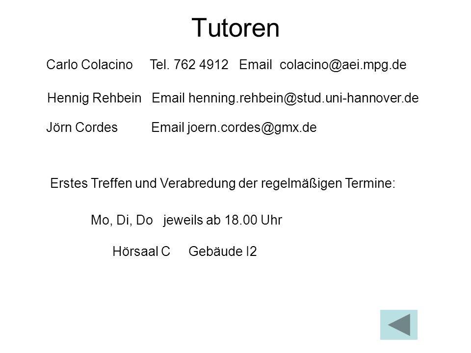 Tutoren Carlo Colacino Tel. 762 4912 Email colacino@aei.mpg.de