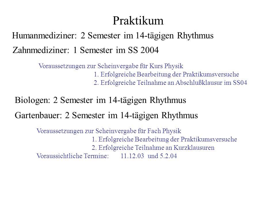 Praktikum Humanmediziner: 2 Semester im 14-tägigen Rhythmus
