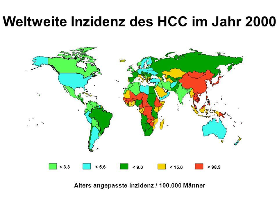 Weltweite Inzidenz des HCC im Jahr 2000