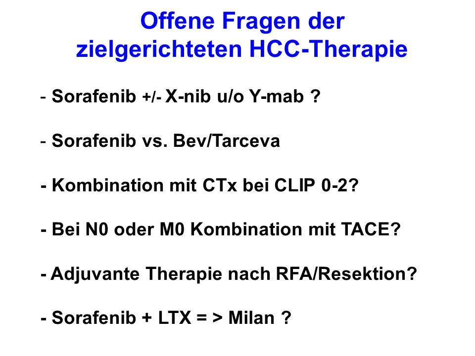 Offene Fragen der zielgerichteten HCC-Therapie