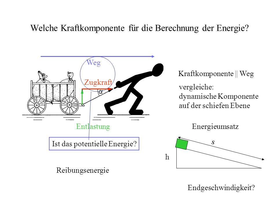 Welche Kraftkomponente für die Berechnung der Energie