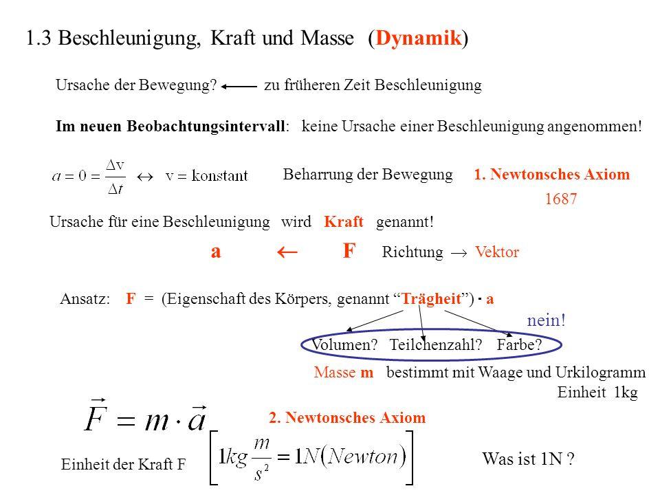 1.3 Beschleunigung, Kraft und Masse (Dynamik)
