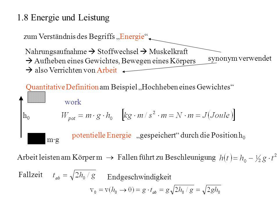 """1.8 Energie und Leistung zum Verständnis des Begriffs """"Energie"""
