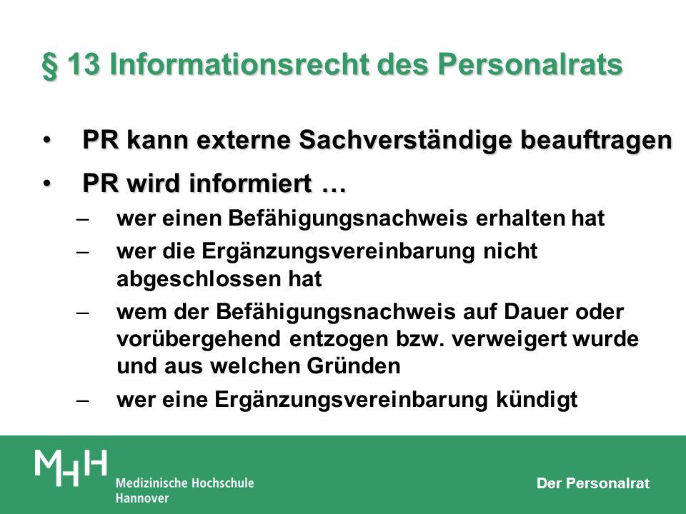 § 13 Informationsrecht des Personalrats