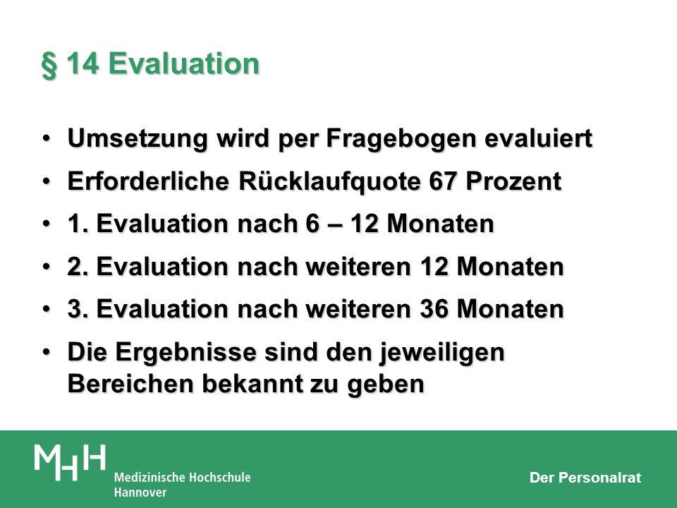 § 14 Evaluation Umsetzung wird per Fragebogen evaluiert