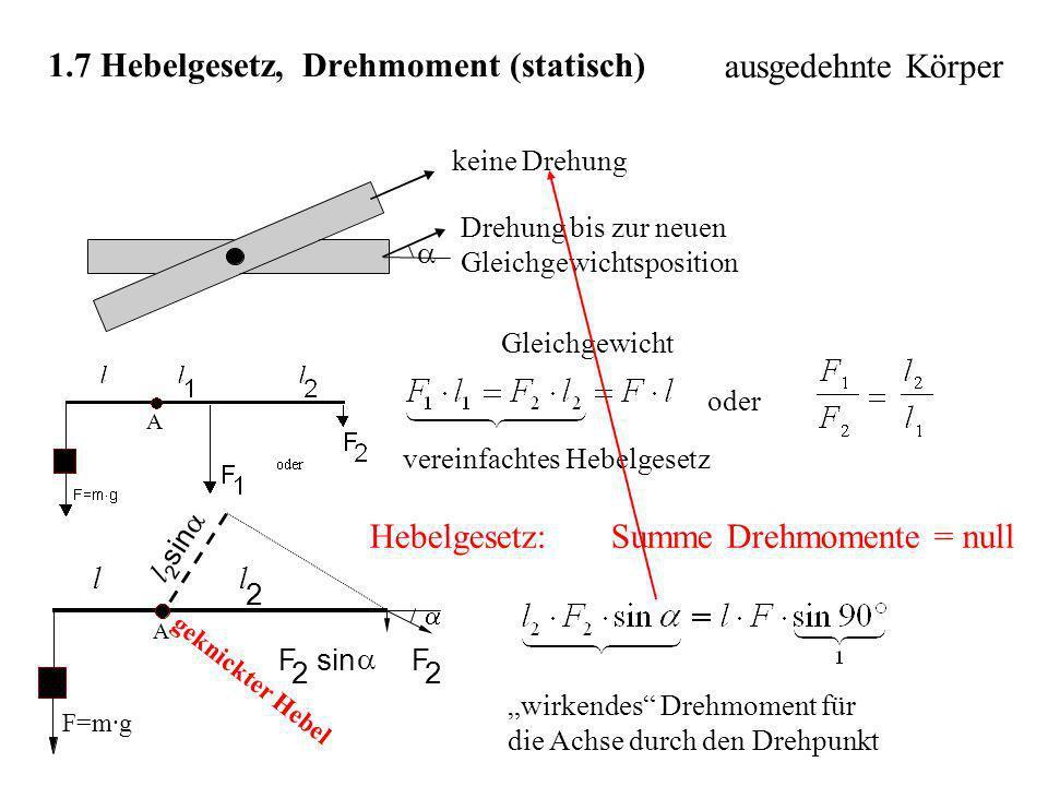 1.7 Hebelgesetz, Drehmoment (statisch)