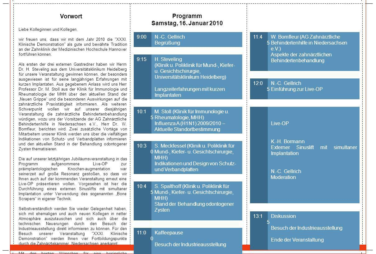 Vorwort Programm Samstag, 16. Januar 2010