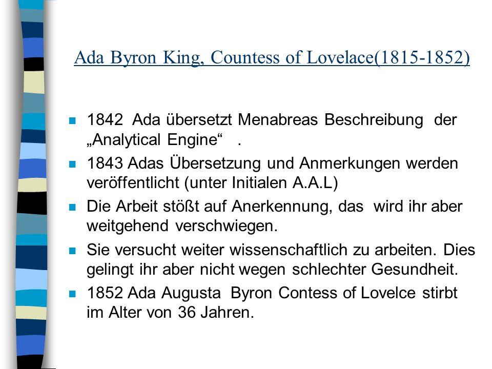 Ada Byron King, Countess of Lovelace(1815-1852)