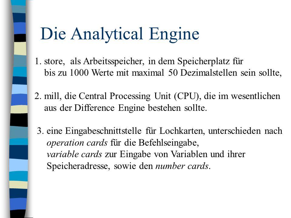 Die Analytical Engine 1. store, als Arbeitsspeicher, in dem Speicherplatz für. bis zu 1000 Werte mit maximal 50 Dezimalstellen sein sollte,