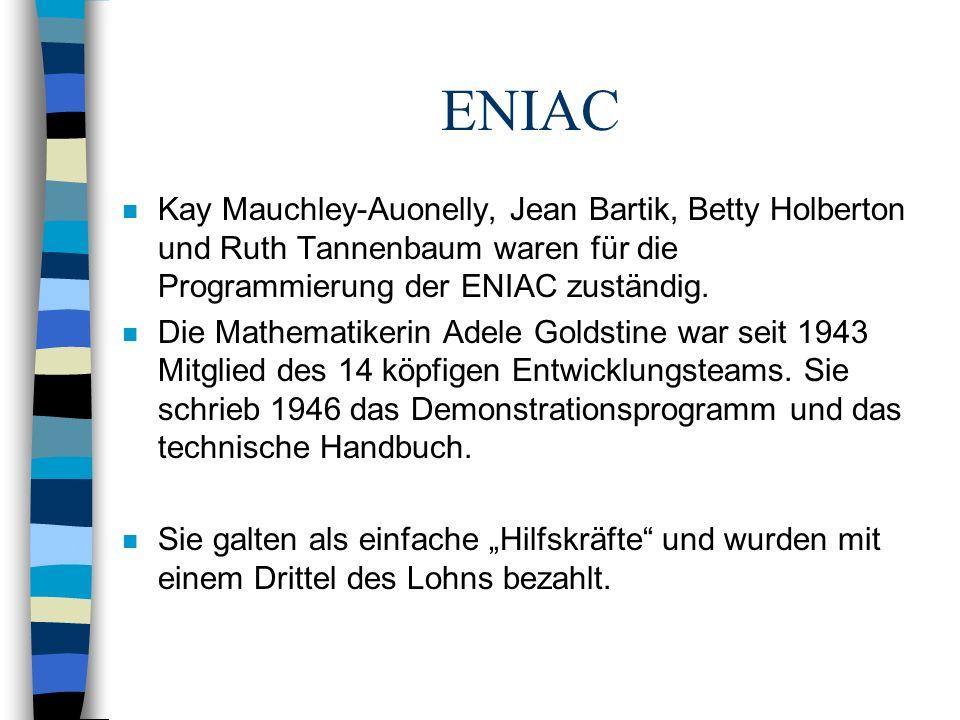 ENIAC Kay Mauchley-Auonelly, Jean Bartik, Betty Holberton und Ruth Tannenbaum waren für die Programmierung der ENIAC zuständig.