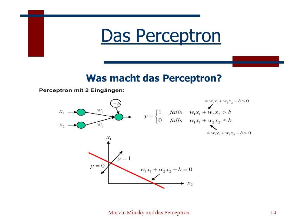 Das Perceptron Was macht das Perceptron