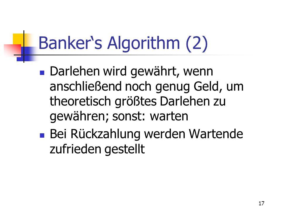 Banker's Algorithm (2) Darlehen wird gewährt, wenn anschließend noch genug Geld, um theoretisch größtes Darlehen zu gewähren; sonst: warten.