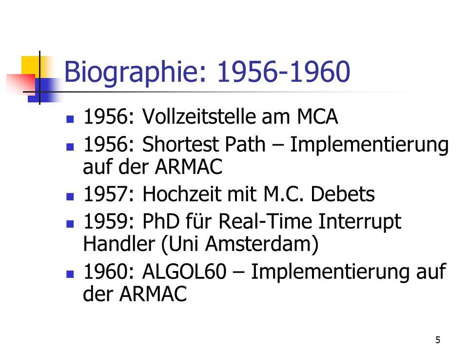 Biographie: 1956-1960 1956: Vollzeitstelle am MCA