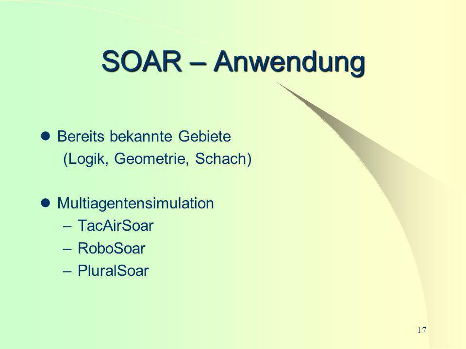 SOAR – Anwendung Bereits bekannte Gebiete (Logik, Geometrie, Schach)