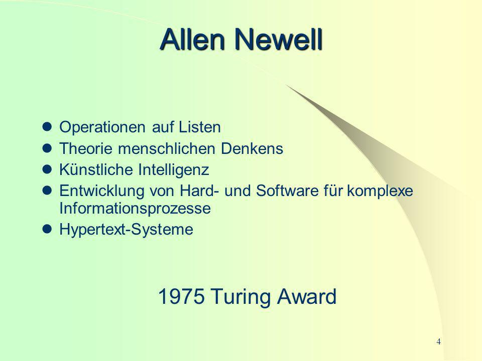 Allen Newell 1975 Turing Award Operationen auf Listen