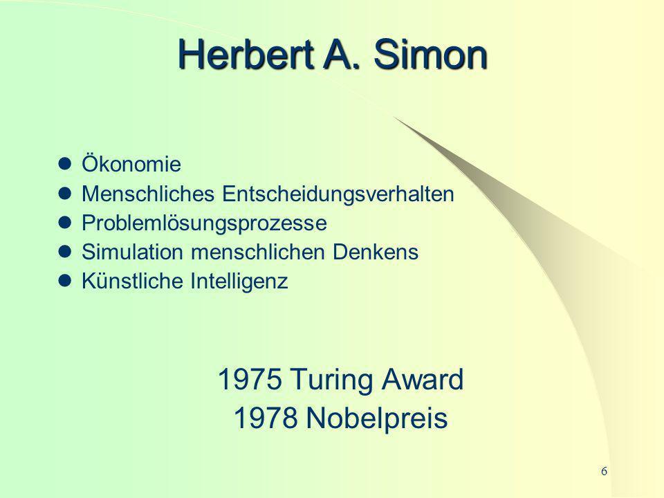Herbert A. Simon 1975 Turing Award 1978 Nobelpreis Ökonomie