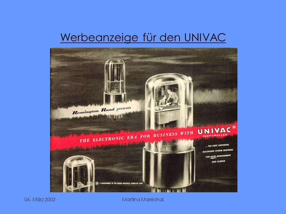 Werbeanzeige für den UNIVAC