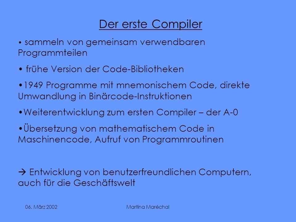 Der erste Compiler frühe Version der Code-Bibliotheken