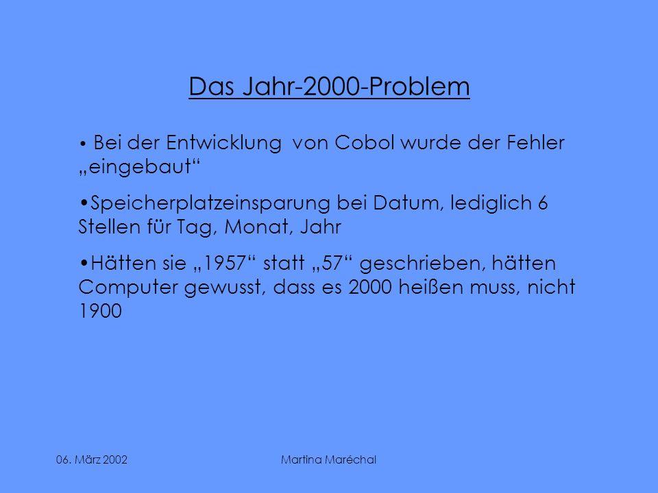 """Das Jahr-2000-ProblemBei der Entwicklung von Cobol wurde der Fehler """"eingebaut"""
