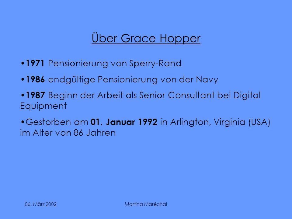 Über Grace Hopper 1971 Pensionierung von Sperry-Rand