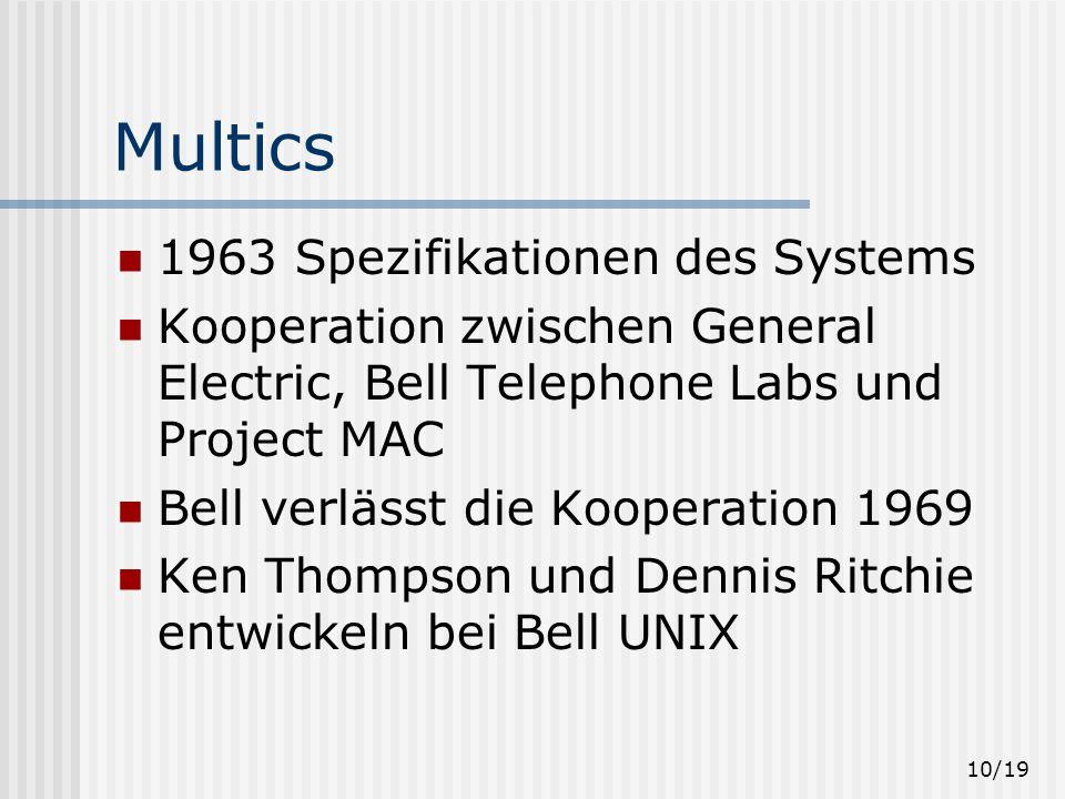 Multics 1963 Spezifikationen des Systems
