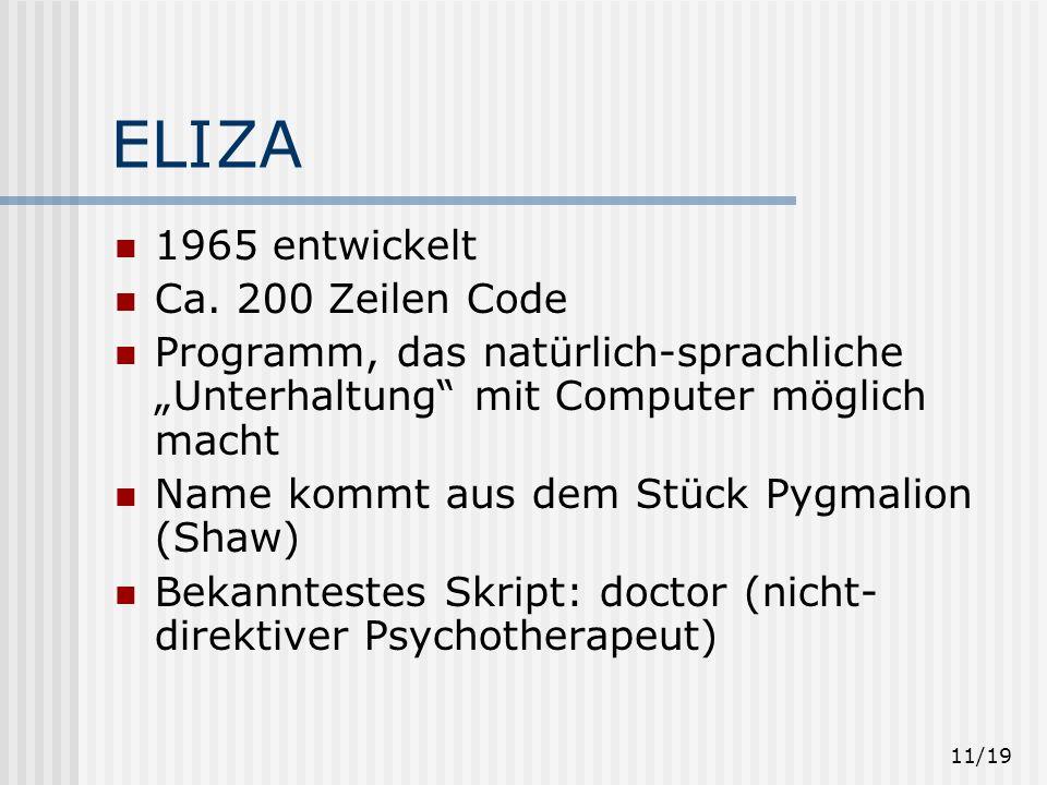 ELIZA 1965 entwickelt Ca. 200 Zeilen Code