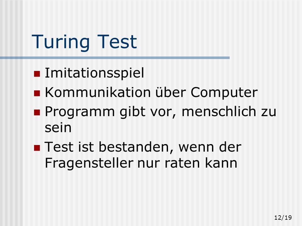 Turing Test Imitationsspiel Kommunikation über Computer