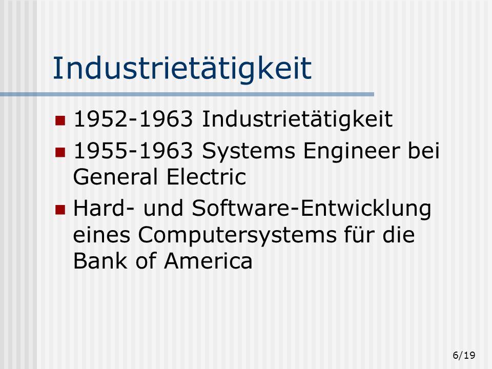 Industrietätigkeit 1952-1963 Industrietätigkeit