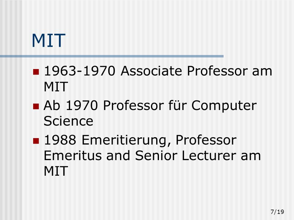 MIT 1963-1970 Associate Professor am MIT