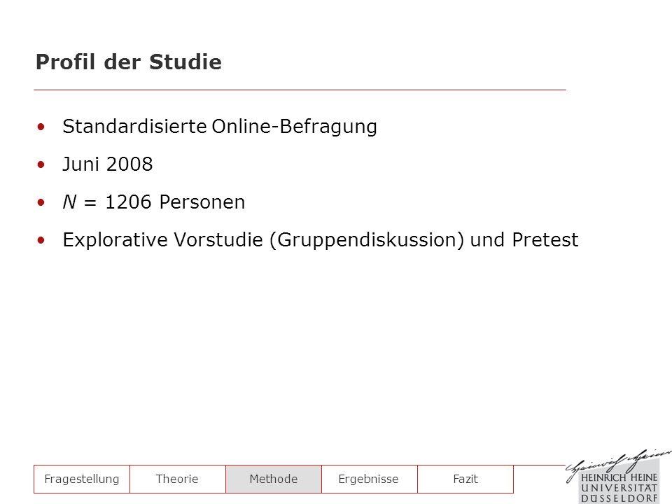 Profil der Studie Standardisierte Online-Befragung Juni 2008