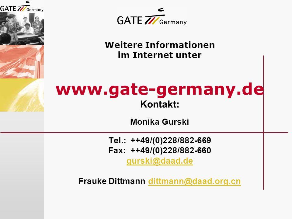 Weitere Informationen im Internet unter www. gate-germany