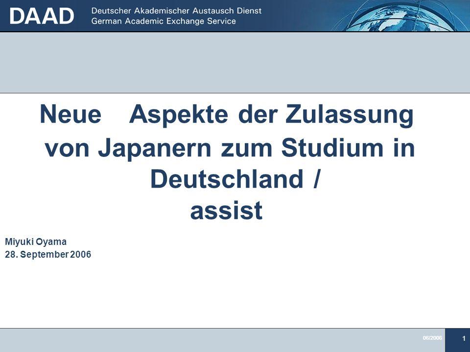 Neue Aspekte der Zulassung von Japanern zum Studium in Deutschland /