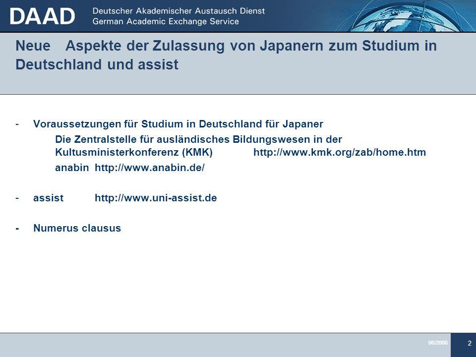 Neue Aspekte der Zulassung von Japanern zum Studium in Deutschland und assist