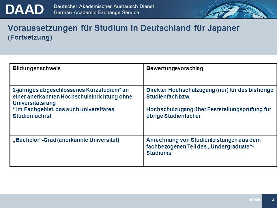 Voraussetzungen für Studium in Deutschland für Japaner (Fortsetzung)